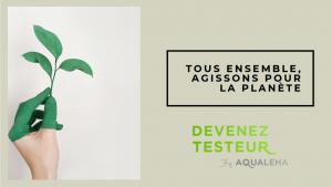 """Main verte avec arbre """"Tous ensemble, agissons pour la planète"""""""
